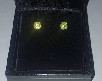14k Peridot Stud Earrings ~ August Birthstone Stud Earrings