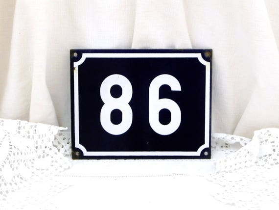 Large Traditional French Porcelain House Number Plate Number 86 in Dark Blue with White Colored Numbers / Enamel House Sign, Address Signs