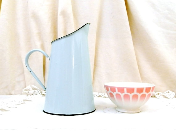 Vintage Mint Green Enamel French Pitcher, Enamelware Pale Green Jug, Rustic Rural Country Cottage Decor, Farmhouse Kitchen from France,