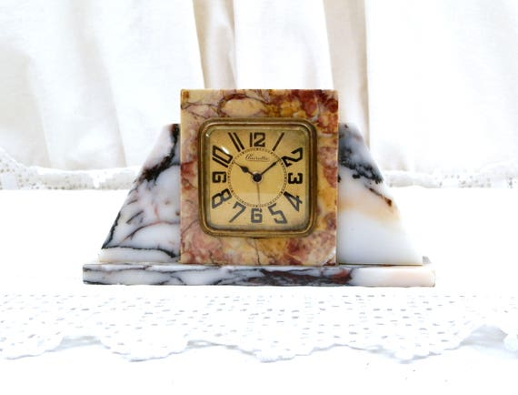 Antique Working Art Deco 1930s Marble Stone Wind Up Mechanical Alarm Clock Clairetta,  French Bedside Old Clock 30s, Brocante Paris Decor