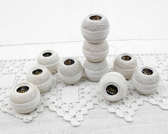 Small Vintage Round Bobbins of Unused White Sewing Yarn / Thread by DMC from France, Reels of French Lace Making / Embroidery Thread