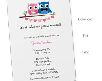 Wedding Owls Invitation   Bridal Shower   Printable Editable Digital PDF File   Instant Download   WSI258DIY