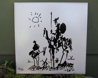 Picasso's Don Quixote - Villarreal-Castellon - Vintage Collectible Ceramic Tile - Made in Spain