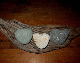 3 Natural Heart Rocks and Driftwood - Heart Shaped Beach Stones & Driftwood -  Love Rocks - Valentine - Wedding - Anniversary HR 107