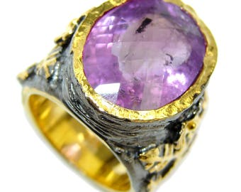 Amethyst Sterling Silver Ring - weight 19.90g - Size 6 - dim L - 7 8, W - 3 4, T - 1 4 inch - code 25-lip-16-31