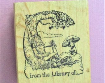 From the Library Of Bookplate Papercraft Stamp Rip Van Winkle Bookplate Rubber Stamp Funny Business Wood Mount Finely Carved Rubber Stamp