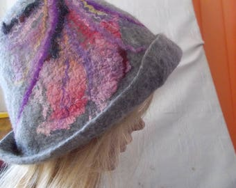 Felted hat for women, Cloche felt hat, Art Hat, Cloche hats, Victorian hat Wave Cloche wool Hat Handmade Felted Hat Cap Merino Wool