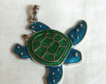 Xmas in July Sale Sea Turtle Enamel Pendant Charm, Silver Tone Metal, Blue and Green Enamel, Jewelry Making, Focal Point, Beading Turtle Lov