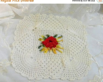 "Xmas in July Sale Vintage Crocheted 3-D Red Rose, Cream and Variegated Cream Colored Square Doily 11"" x 11"""