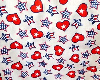 Patriotic Americana Stars and Hearts Fabric