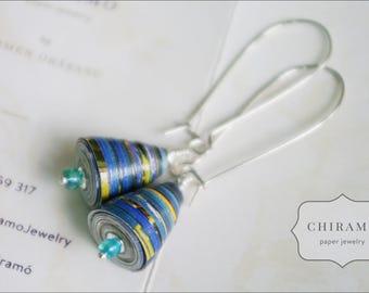 Blue Bells - Recycled Paper Earrings