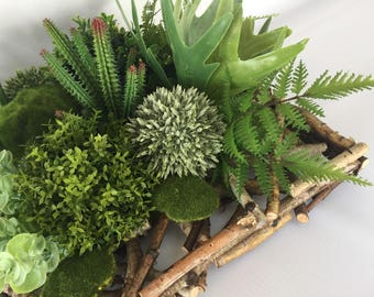 Mixed Greens Square Centerpiece