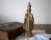 Infant of Prague Antique Gold Metal Statue, Religious Figurine, Catholic Devotional Statue. Cast Metal Religious Statue