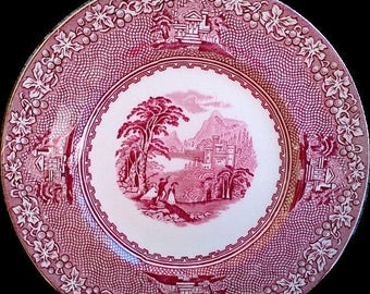 """SUMMER SALE Jenny Lind Side Plate, Red and White, 6 1/2"""" Bread and Butter Plate, England, Transferware, Serving, Home Decor, Kitchen Dining"""