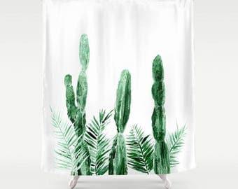Cactus Palm Leaf Shower Curtain, cactus shower, cactus curtain, white shower curtain, palm leaf shower, palm leaf curtain, green shower