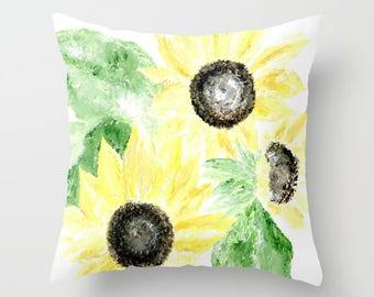 Sunflower Throw Pillow, flower throw pillow, yellow flower pillow, floral throw pillow, sunflower pillow, sunflower painting