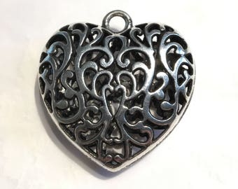 Large 50mm Antique Silver Tone Puffy Filigree Heart Pendant