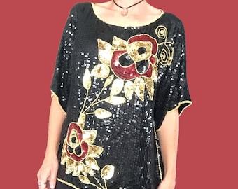 Sequin Blouse/ Sequin Top/ Sequin Shirt/ Fancy Sequin Party Blouse/ Floral Sequin Blouse/ Vintage Sequin Top/ Gold Sequin/ Red Sequin/ Silk