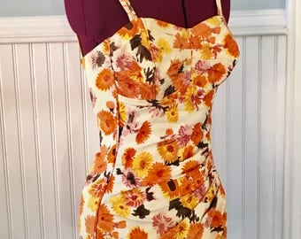 Daisy print Perfection Fit by Roxanne Swimsuit Playsuit 60s 1960s
