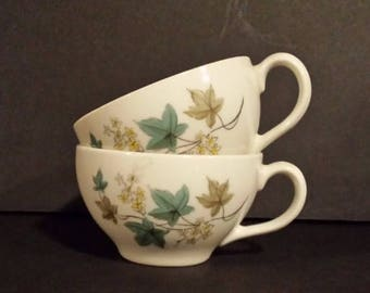 Carefree True China, Syracuse Woodbine, tea cups, coffee cups, 1960s, leaf pattern, made in the USA, tea party cups, mid century tea cups