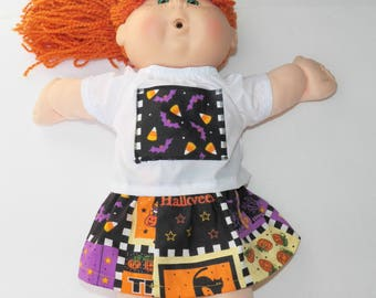 Cabbage Patch Doll Clothes- 16 inch kids or bitty baby clothes- 15 inch or 18 inch doll- Halloween, skirt, blouse adorabledolldesigns