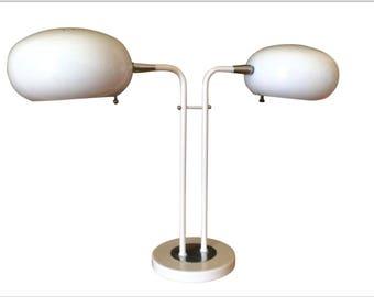 1970's Mod Space Age MCM Desk Lamp Metal White