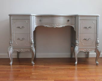 SOLD****French Metallic Grey Vanity/Desk/Accent Table
