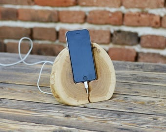 Solid wood phone stand, iPhone 6 dock, iPhone 7 stand, Docking station, Samsung phone holder, Home decor, Tech accessories, Handmade gift