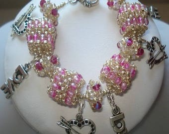 Pink Pearl beaded charm bracelet
