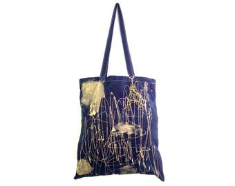 READY to Ship Gold Squiggle with charm TOTE Shopper Cotton Eco Unisex Handheld Bag / Eve Damon