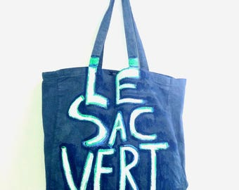 CUSTOM Le Sac Vert Freestyle Outlined Cotton Shoulder Eco Tote BAG / Eve Damon