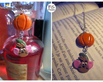 Cinderella, GusGus and pumpkin necklace