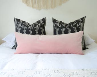 blush long lumbar pillow // blush velvet cushion  // blush velvet long lumbar pillow