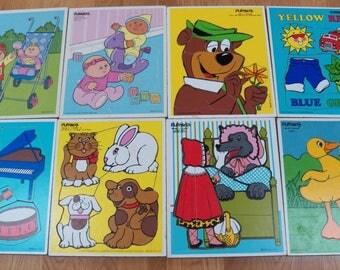 Lot of 8 Vintage Playskool Wood Board Puzzles~Red Riding Hood/Animals/Yogi/Color