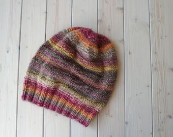 Slouchy Colorful Beanie | Slouchy Knit Hat | Pink Wool Hat | Woman Winter Hat | Warm Wool Beanie | Striped Hat | Yellow Knit Wool Cap
