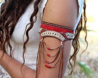 Arm jewelry, arm leather bracelet, armlet, arm bracelet, body leather jewelry, body jewelry,  arm cuff, boho jewelry, leather bracelet