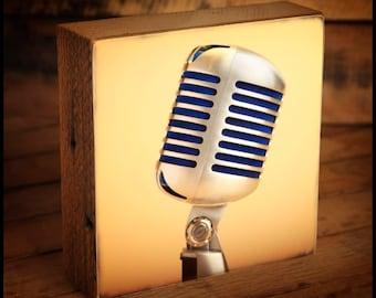 Shure 55SH Vintage Microphone Reclaimed Wood Block