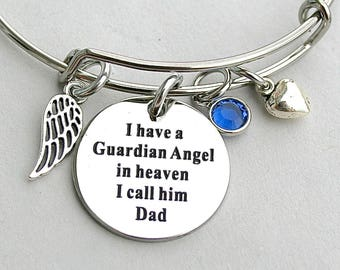 "Stainless Steel "" I Have A Guardian Angel In Heaven I Call Him Dad"", Memorial Bangle, Loss Of Loved One,Angel Wing, Daughter, Bereavement"