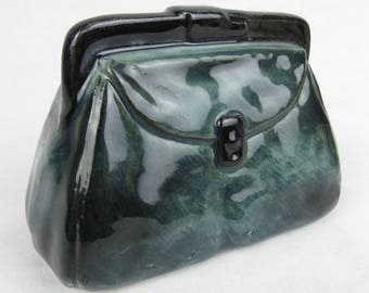 Vintage Purse Shaped Bank / Ceramic, Pottery / Marked Austria / Mid Century / Black, Blue / Gift for Shopper