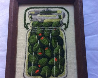 vintage embroidered olive preserves