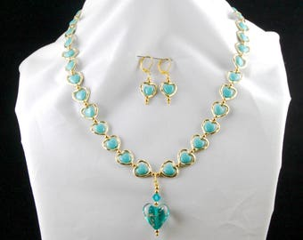 Gold and Turquoise Hearts Necklace with Earrings