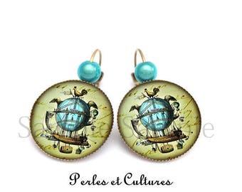 Hot air balloon bird blue green brown vintage ღromantique Sky earrings