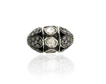 Uncut/Rose Cut Diamond Spacer Bead Finding 925 Silver Vintage Jewelry