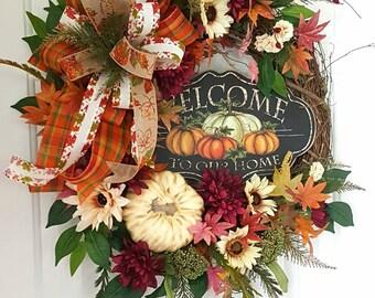 Elegant Fall Wreath, Autumn Wreath, Harvest Wreath, Front Door Wreath, Fall Decor, Welcome Fall Wreath, Pumpkin Wreath