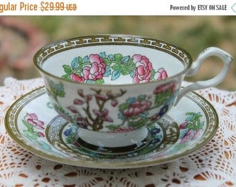 "ON SALE COLLINGWOODS Bone China Teacup and Saucer Set ""India Tree"""