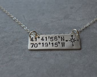 Coordinates sterling silver bar necklace