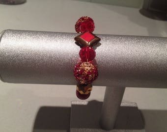 Elegant Golden Red Stretch Bracelet
