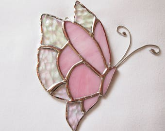 Stained Glass Pink Butterfly Suncatcher