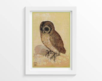 Owl Cross Stitch Kit, The Brown Owl Cross Stitch, Embroidery Kit, Art Cross Stitch, Albrecht Durer Cross Stitch (DURER04)