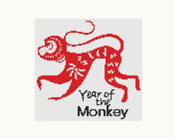 Year of the Monkey, Chinese Zodiac Cross Stitch, Art Cross Stitch (TAS121)